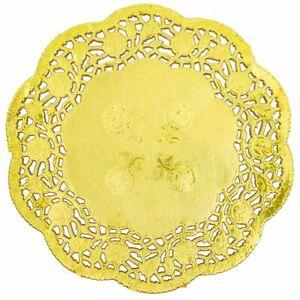 "200pcs Gold Round 6"" Paper Doilies Lace for Art Craft Wedding Party Table Décor"