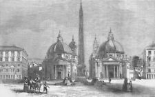ITALY. The Piazza del Popolo, Rome(Roma), antique print, 1859