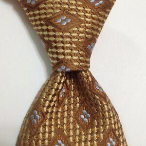 ERMENEGILDO ZEGNA Mens Silk/Cotton Necktie ITALY Luxury Geometric Gold/Brown EUC