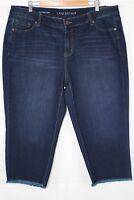 New Lane Bryant Women's Girlfriend Crop Capri Frayed Hem Plus 20 Dark Blue Wash