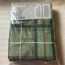 """IKEA ARDEN RUTA Green Plaid Corduroy Curtains 57"""" x 118"""" Set of 2 NEW in Package"""