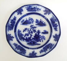 """ANTIQUE c. 1850 FLOW BLUE WEDGWOOD  IRONSTONE CHAPOO DINNER PLATE ~ 10.5"""""""