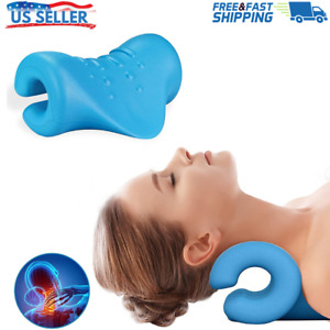 Neck and Shoulder Relaxer Cervical Traction Device Pillow Necks Stretcher Blue