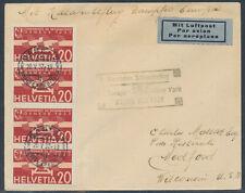 Katapultpost 25./26.5.1932 Zuleitung Schweiz Basel nach USA Attest (S16690)