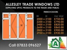Upvc French Door With Opening Windows White 2600 Wide By 2100 High