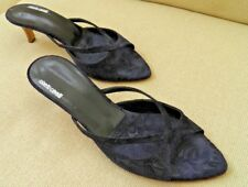 ROBERTO CAVALLI NAVY BLUE SUEDE SLIDES MULES STRAPPY SANDALS SHOES 39 9