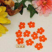 10 orange Blüten Blume Filz 3cm Frühling Basteln Karten Tischdeko Restposten