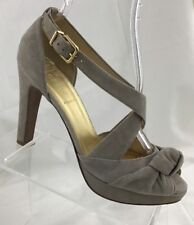 J Crew Women's size 9 Platform Open Toe Strappy Gray Suede Leather Heels Italy