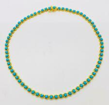 """QVC Sleeping Beauty 14k Yellow Gold On Turquoise Sterling 18"""" Tennis Necklace"""
