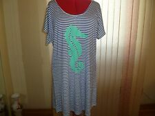 NWT CLUB Z COLLECTION Swimsuit Coverup White/Royal Blue Stripes+Print size 2X.