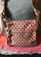Fossil Keyper Peach Multi-Color Owl Coated Canvas Leather Zip ShoulderBag/X-Body
