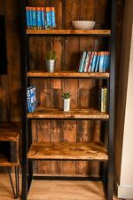 Industrial ladder shelf Bookcase - Steel frame body with reclaimed wood shelves