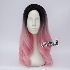 55CM Lolita Black & Pink Ombre Wavy Women Halloween Cosplay Wig Heat Resistant