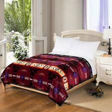 Southwestern Navajo Print Silk Touch Reversible Queen Size Blanket Burgundy