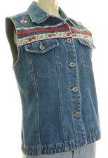 Denim Vest Paul Harris Rose Embroidered Floral Ribbon Detail Size Women's Med