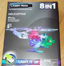 Helicopter 8 in 1 Laser Peg Light up construction Block Works with any Brick