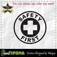 SAFETY FIRST Sticker motorcycle decal helmet STEED BIKE JDM WORKER CAR WARNING W