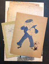 Vintage 1930's - 40's Primitive Folk Art Children's Drawing Lot, Dick Tracy