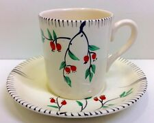 """Burleigh Ware """"Berries"""" Pattern Coffee Cup & Saucer."""