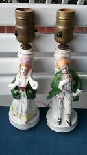 Vintage Colonial Pair Victorian Table Lamps Hand Painted Japan