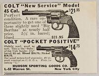 1929 Print Ad Colt .45 Cal Service Revolver & Pocket .32 Cal Hudson Co. New York