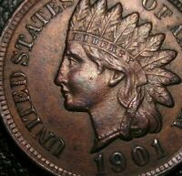 OLD US COINS 1901 INDIAN HEAD CENT PENNY HIGRADE FULL LIBERTY  BEAUTY