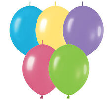 """50ct DELUX ASSORTED  Link-o-Loon 12"""" Latex Helium Linking Balloons ARCHES ARBORS"""