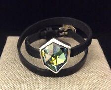 NWT UNO de 50 REFRESH Leather Wrap Bracelet/Choker w/ Blue Crystal PUL1672