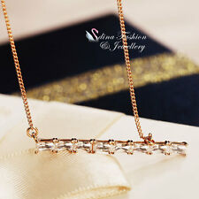 18K Rose Gold Plated AAA Grade CZ Channel-Set Sparking Exquisite Stick Necklace