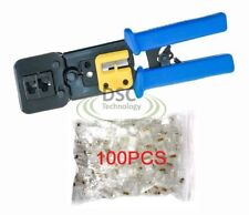 EZ-RJ45 Crimp Tool Combo + 100 EZ-Cat6 Connectors-- USPS Priority Mail Shipping
