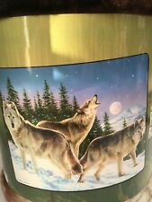 "Royal Raschel Plush Throw Blanket 50"" x 60"" - 3 Wolves Howl New - Dorm Throw"