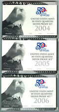 "LOT OF FIVE U.S. SILVER ""STATEHOOD"" QUARTER PROOF SETS - 2004 TO 2008"