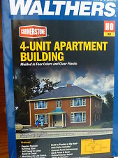 Walthers Cornerstone HO #3781 Four-Unit Brick Apartment Building (Kit)
