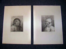 Man and Woman of Kamtschatka. Cook. 1784. 2 folio plates from atlas volume.
