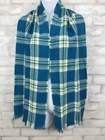 Vintage Blue Green and White Wool Scarf Tartan Plaid With Fringe 62x10""