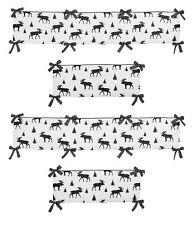 Sweet Jojo Rustic Patch Grey Black Woodland Moose Trees Baby Crib Bumper Pad