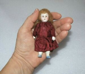 """ANTIQUE ALL BISQUE Jointed Arms Legs # 5000 GERMANY 4"""" MIGNONETTE DOLLHOUSE DOLL"""