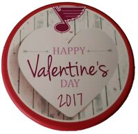 2017 ST. LOUIS BLUES RED RARE HAPPY VALENTINE'S DAY NHL OFFICIAL HOCKEY PUCK