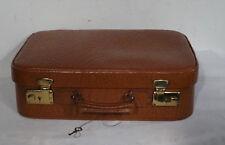 Vintage kl. Reise Koffer Oldtimer deko brauner Leder Kinder Reisekoffer ~1950er