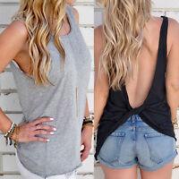 Womens Summer Loose Twist Backless Sleeveless Vest Blouse Ladies Tank Tops Shirt