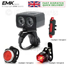 Water-Resistant LED Bicycle Head & Tail Light Set USB Rechargeable Headlight