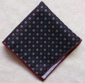 "Hanke Handkerchief MENS NAVY BLUE PATTERNED MOD 9"" X 9"""