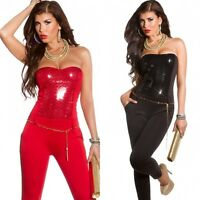 Women's party clubbing Overall jumpsuit catsuit with sequins + Belt UK 8,10,12
