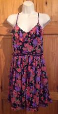 Topshop ruffle front skater fit flare floral strappy short Sun beach Dress UK 12