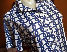LARGE True Vtg 70s SEARS SLINKY BLUE GEOMETRIC PRINT STRETCH NYLON Collar TOP