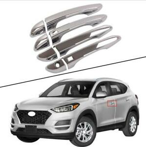 8pcs For Hyundai 2019-2020 2021 Tucson smart hole ABS chrome handle cover trim