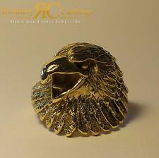 Extra Pesado para Hombre Altamente Pulido Anillo De Oro 9ct Águilas Cabeza en 19 gramos