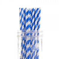 100 Biodegradable Kraft Paper Drinking Straws Blue Strong 3 ply Cafe Take Away