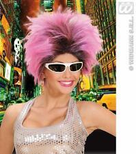 Ladies Pink Black Punk Wig Spikey Rocker Raver Nu Rave Emo Fancy Dress