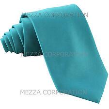 New Vesuvio Napoli Men's necktie solid color 100% polyester Turquoise Blue prom